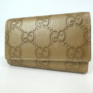 Authentic GUCCI GGpattern Gold Leather key holder